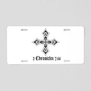 2 Chr 7:14 Kreuz - Aluminum License Plate