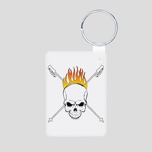 Skull Ski Aluminum Photo Keychain