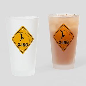 Pole Vault X-ing Drinking Glass