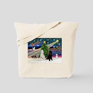 XmasMagic/2 Poodles (P2) Tote Bag