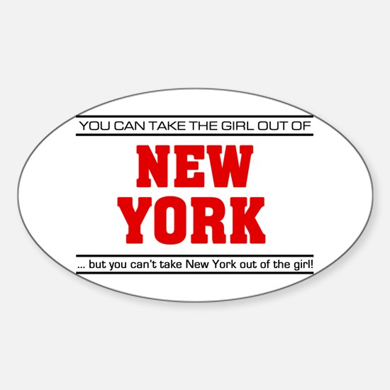 'Girl From New York' Sticker (Oval)