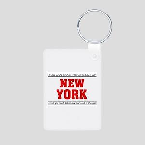 'Girl From New York' Aluminum Photo Keychain