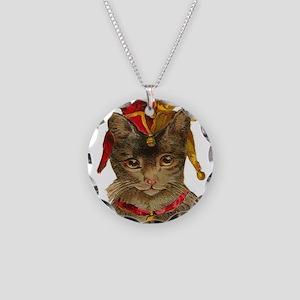 Clown Jester Cat Necklace Circle Charm