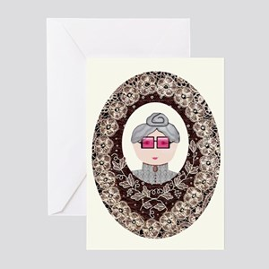 Victorian Lady Lace Oval Greeting Cards (Package o