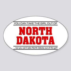 'Girl From North Dakota' Sticker (Oval)