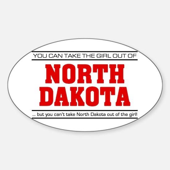 'Girl From North Dakota' Sticker (Oval)