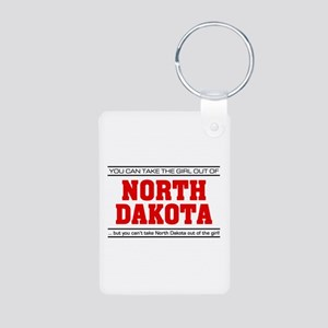 'Girl From North Dakota' Aluminum Photo Keychain