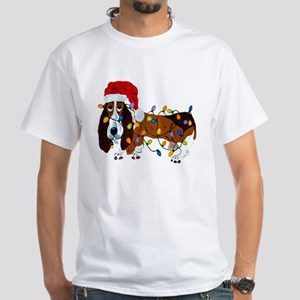 Basset Tangled In Christmas Lights White T-Shirt