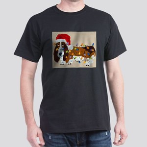 Basset Tangled In Christmas Lights Dark T-Shirt