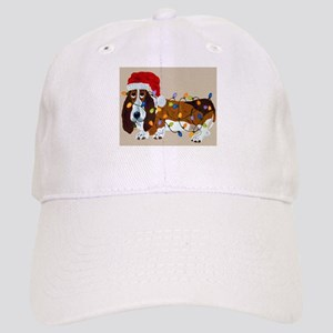 Basset Tangled In Christmas Lights Cap