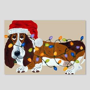 Basset Tangled In Christmas Lights Postcards (Pack
