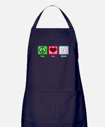 Peace Love Sweet 16 Apron (dark)