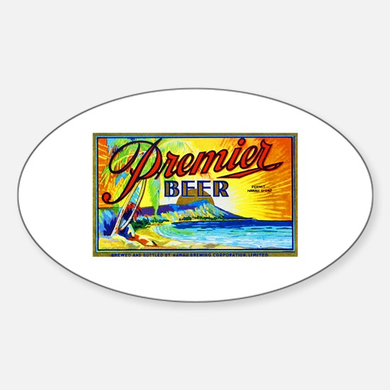 Hawaii Beer Label 3 Sticker (Oval)