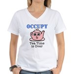 Occupy Wall Street Tea Time i Women's V-Neck T-Shi