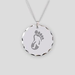 Yeti Footprint Necklace Circle Charm