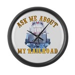 Ask Me About My Railroad Large Wall Clock