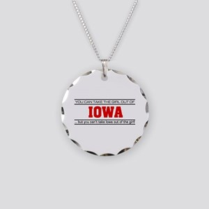 'Girl From Iowa' Necklace Circle Charm
