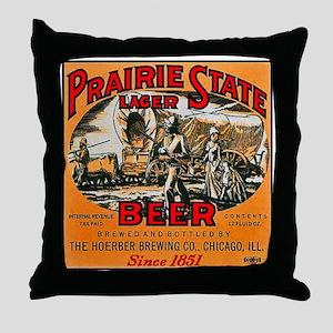 Illinois Beer Label 2 Throw Pillow