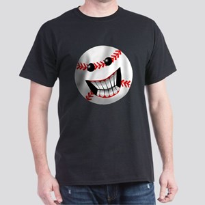 Baseball Smiley Face Dark T-Shirt