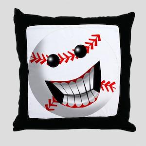 Baseball Smiley Face Throw Pillow