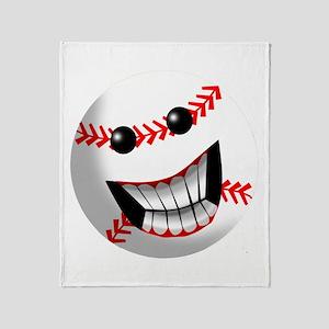 Baseball Smiley Face Throw Blanket