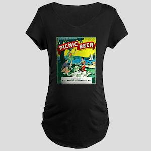 Wisconsin Beer Label 15 Maternity Dark T-Shirt