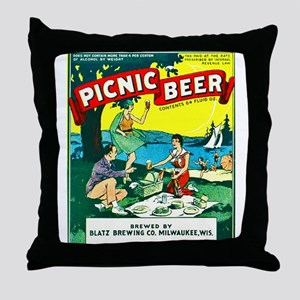Wisconsin Beer Label 15 Throw Pillow