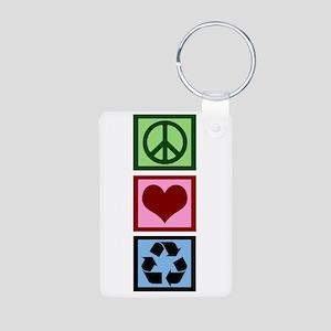 Peace Love Recycle Aluminum Photo Keychain
