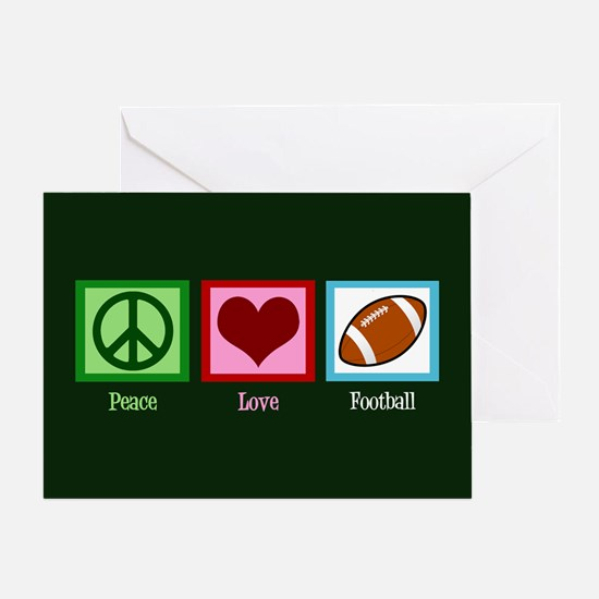 Peace Love Football Greeting Card