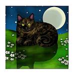 Tortoiseshell Cat Moon Flowers Tile Coaster