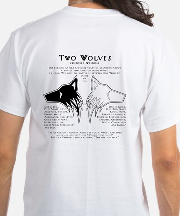Two Wolves White T-Shirt