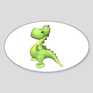 Puff The Magic Dragon - Green Oval Sticker