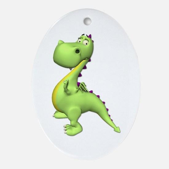 Puff The Magic Dragon - Green Oval Ornament