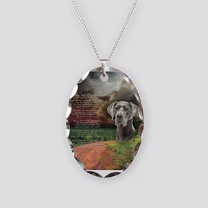 """Why God Made Dogs"" Great Dane Necklace Oval Charm"