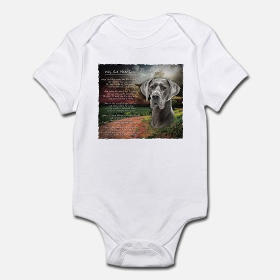 """""""Why God Made Dogs"""" Great Dane Infant Bodysuit"""