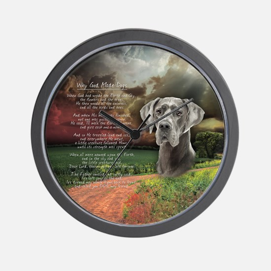 """""""Why God Made Dogs"""" Great Dane Wall Clock"""