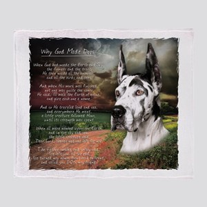 """Why God Made Dogs"" Great Dane Throw Blanket"