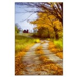 Country Road with Barn Large Poster