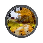 Country Road with Barn Wall Clock