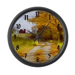 Country Road with Barn Large Wall Clock