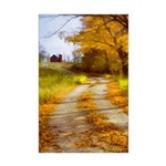 Country Road with Barn Mini Poster Print