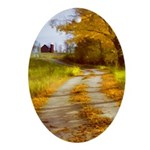 Country Road with Barn Oval Ornament
