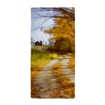 Country Road with Barn Beach Towel