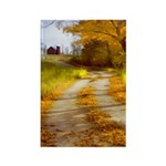 Country Road with Barn Rectangle Magnet (100 pack)
