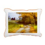 Country Road with Barn Rectangular Canvas Pillow