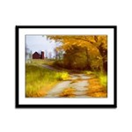 Country Road with Barn Framed Panel Print