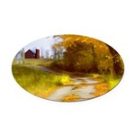 Country Road with Barn Oval Car Magnet
