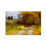 Country Road with Barn Rectangle Magnet (10 pack)