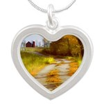 Country Road with Barn Silver Heart Necklace