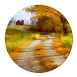 Country Road with Barn Round Car Magnet